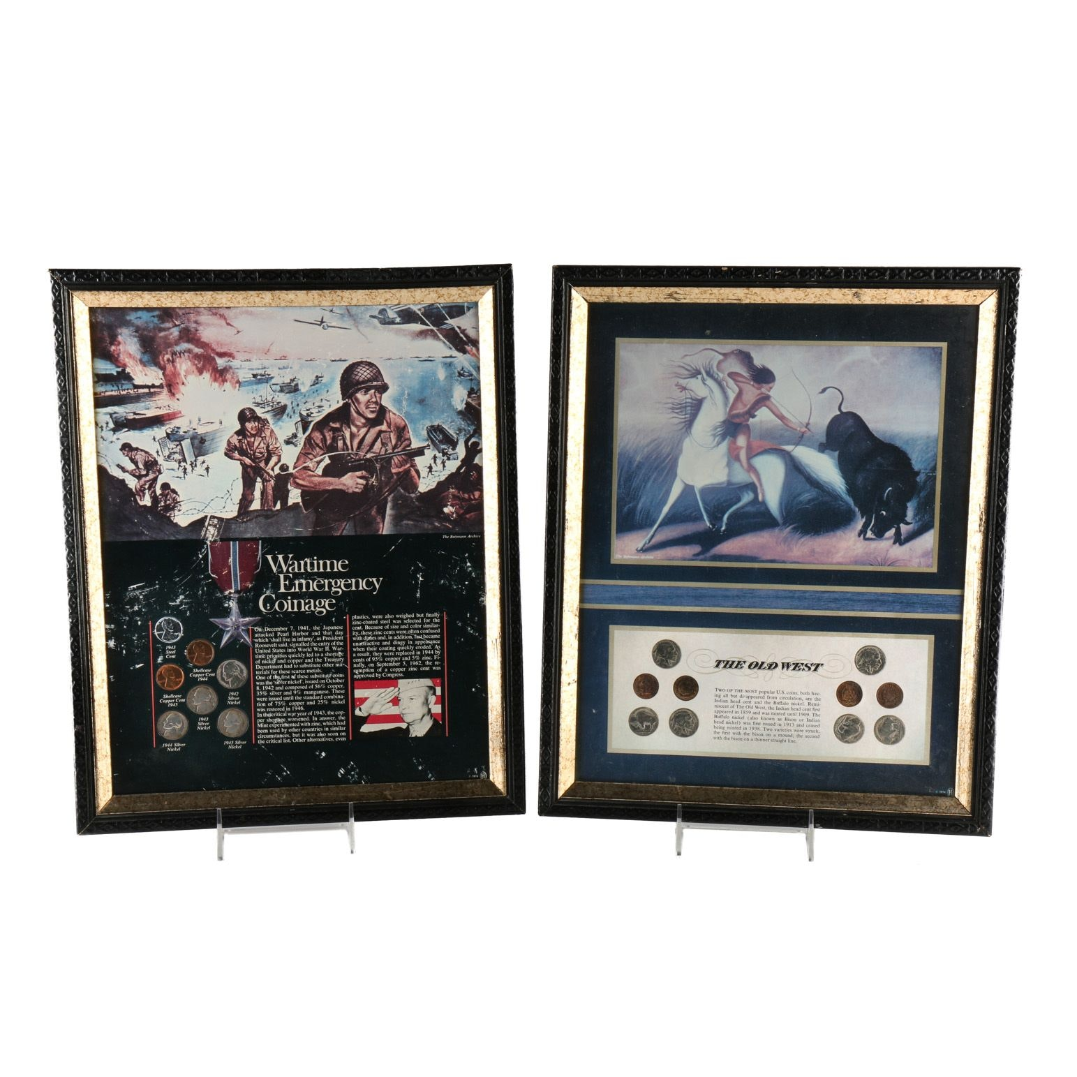 Two Vintage Framed Sets of U.S. Coins