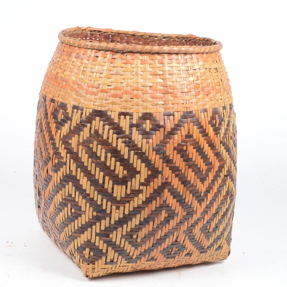 Vintage Cherokee-Style Woven River Cane Basket