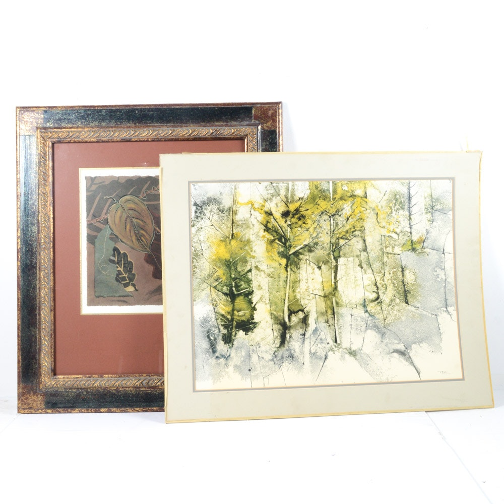 Two Foliate-Themed Offset Lithographic Prints