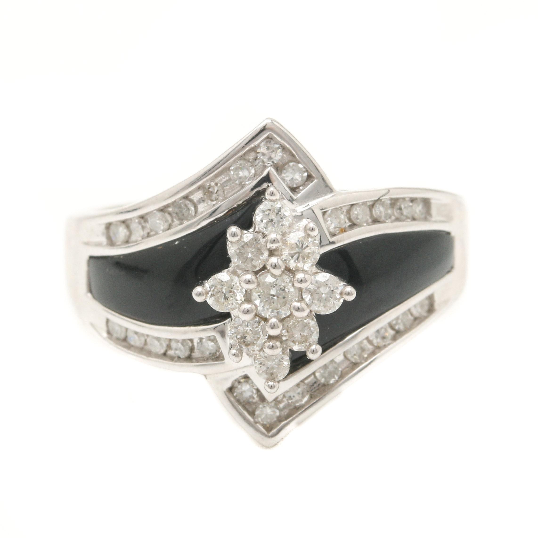 14K White Gold Diamond and Black Onyx Ring