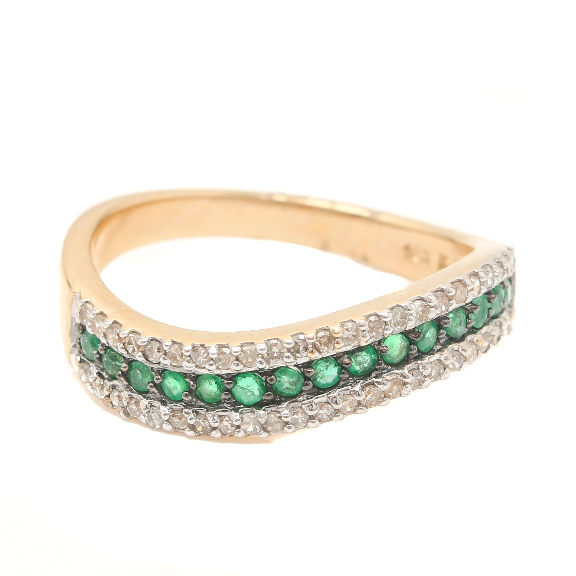 14K Yellow Gold Emerald and Diamond Scalloped Ring