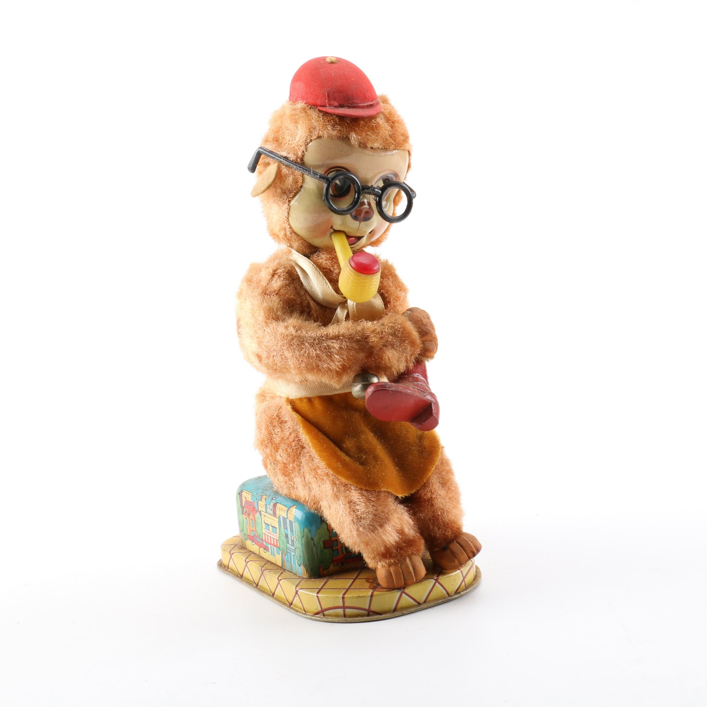 1950s Shoe Shine Joe Battery-Operated Toy Monkey