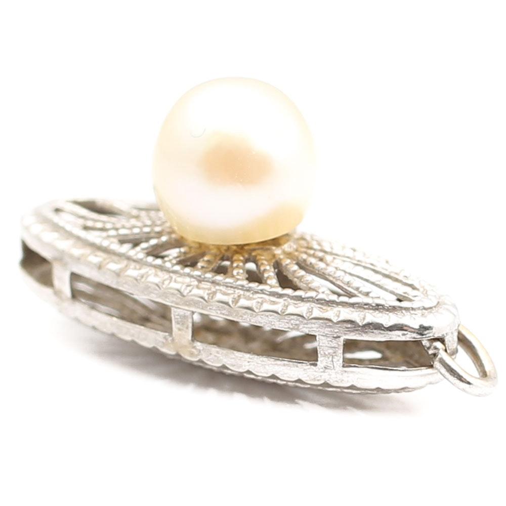 14K White Gold Filigree Pearl Clasp