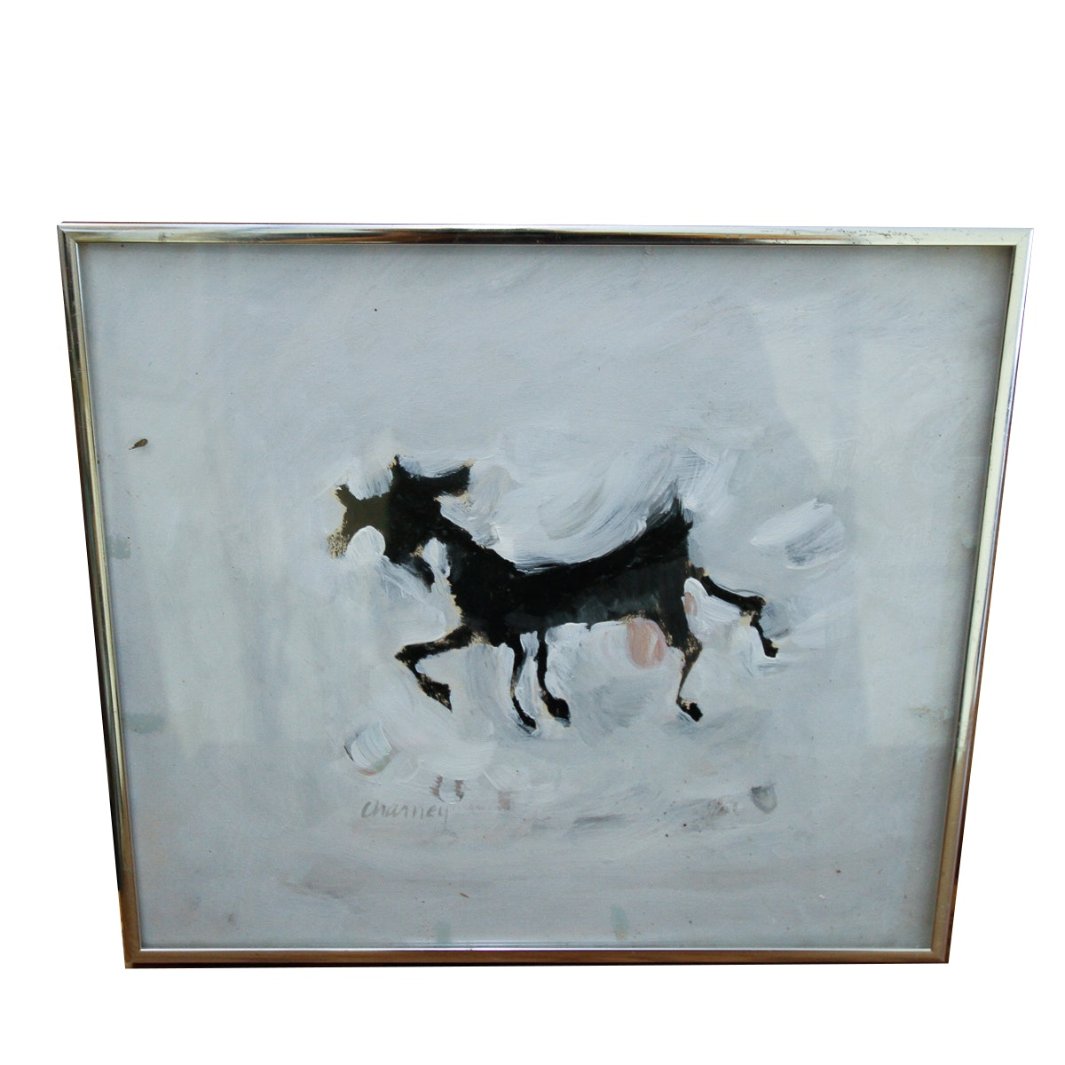 """Sharon Charney Oil Painting on Paper """"Black Goat"""""""