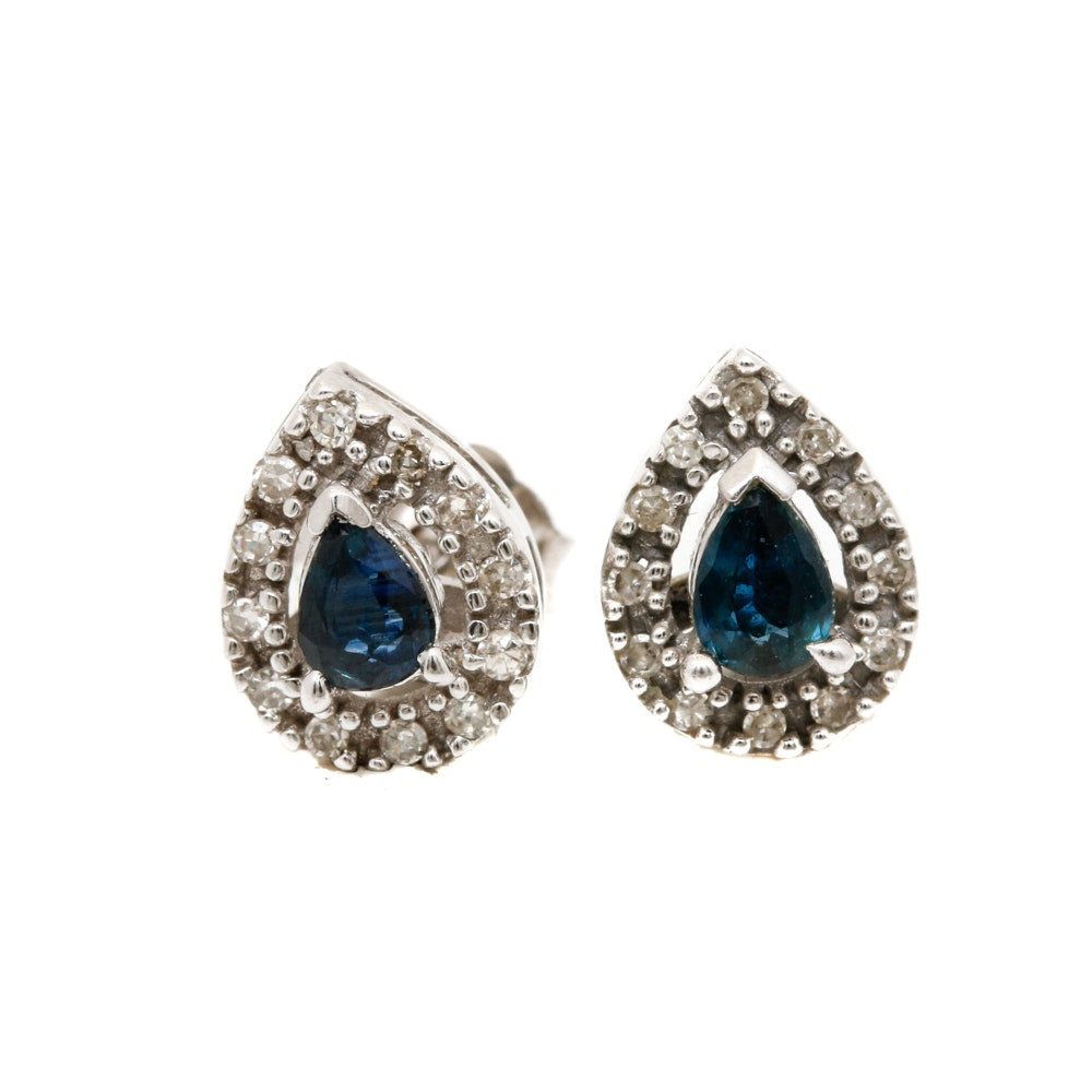 14K White Gold Sapphire and Diamond Stud Earrings EBTH