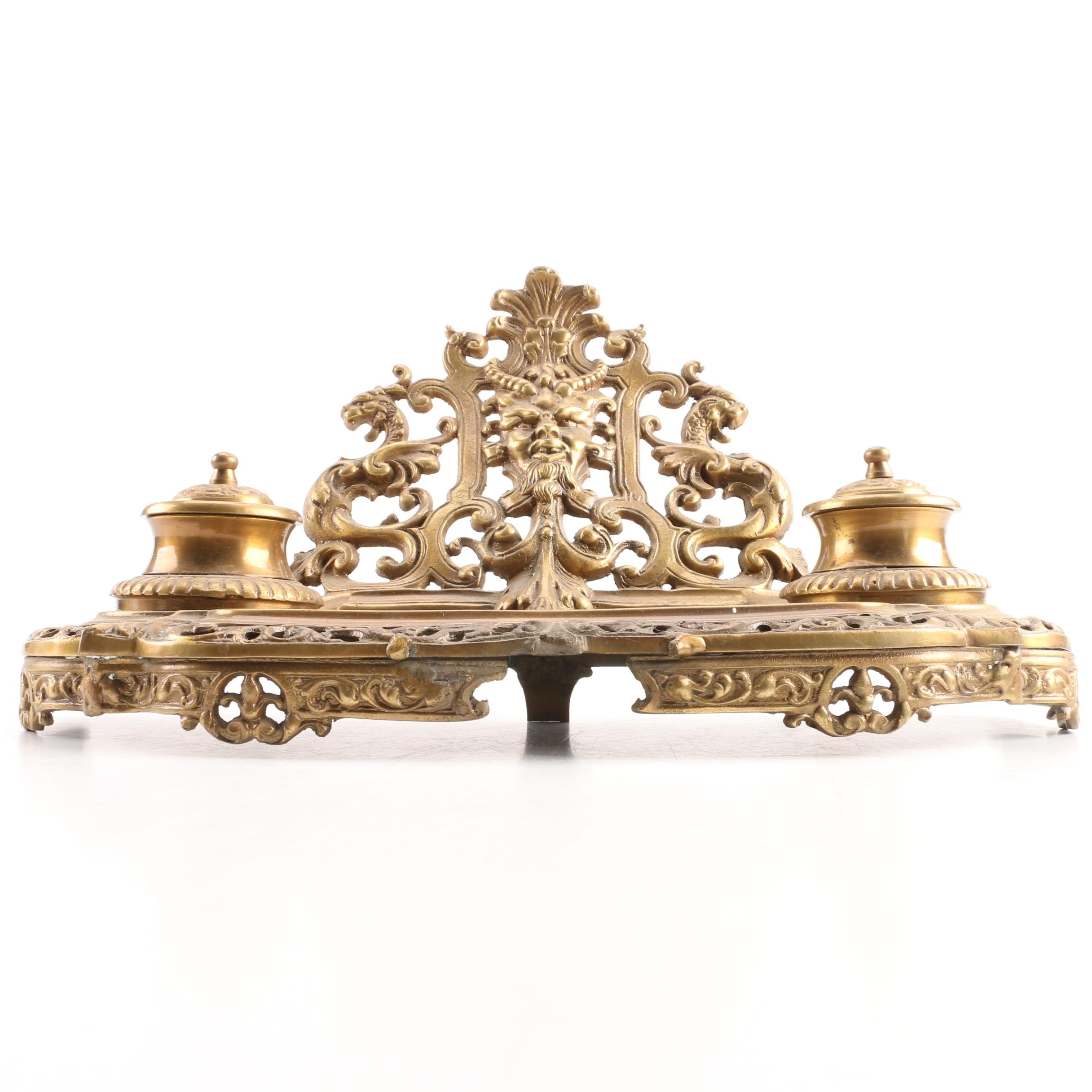 Gothic Inspired Brass Inkwell