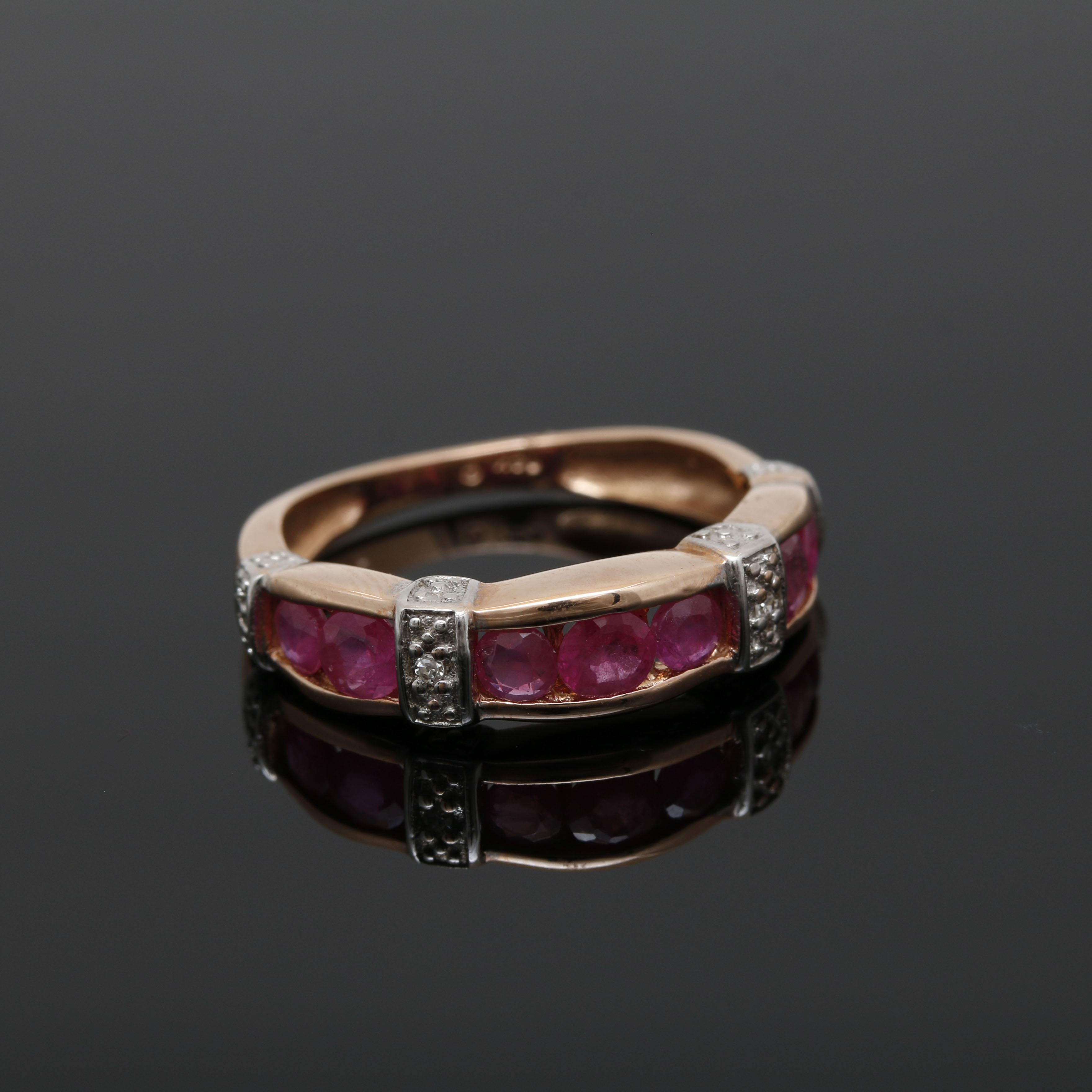 14K Rose Gold Ruby and Diamond Channel Band
