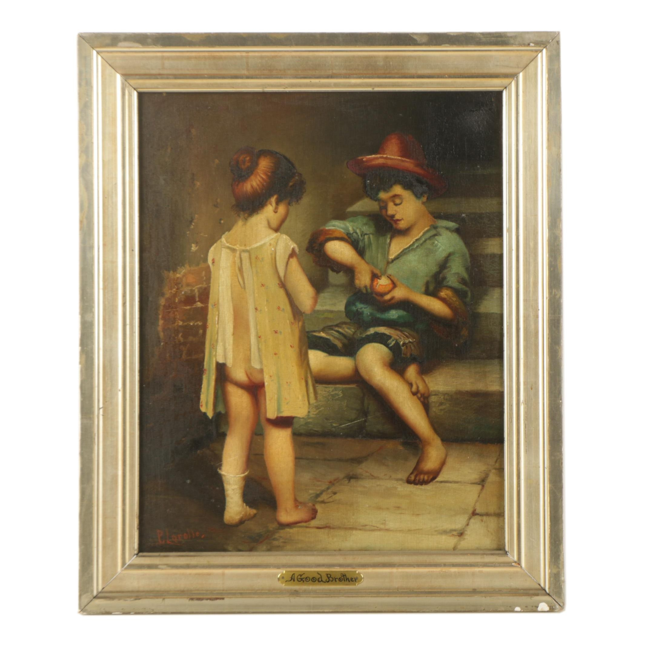 "P. Lerolle Oil Painting ""A Good Brother"""
