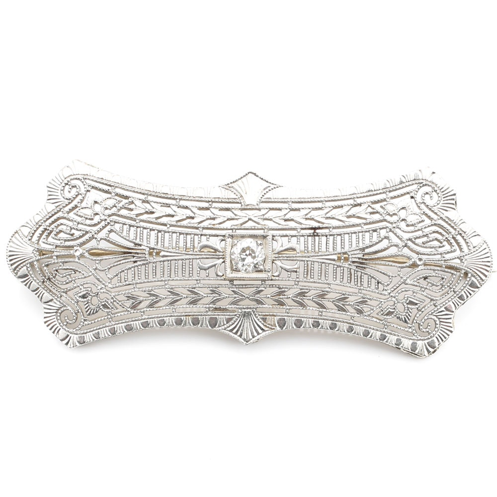 Late Edwardian 14K White Gold Vintage Diamond Brooch with Pierced Openwork