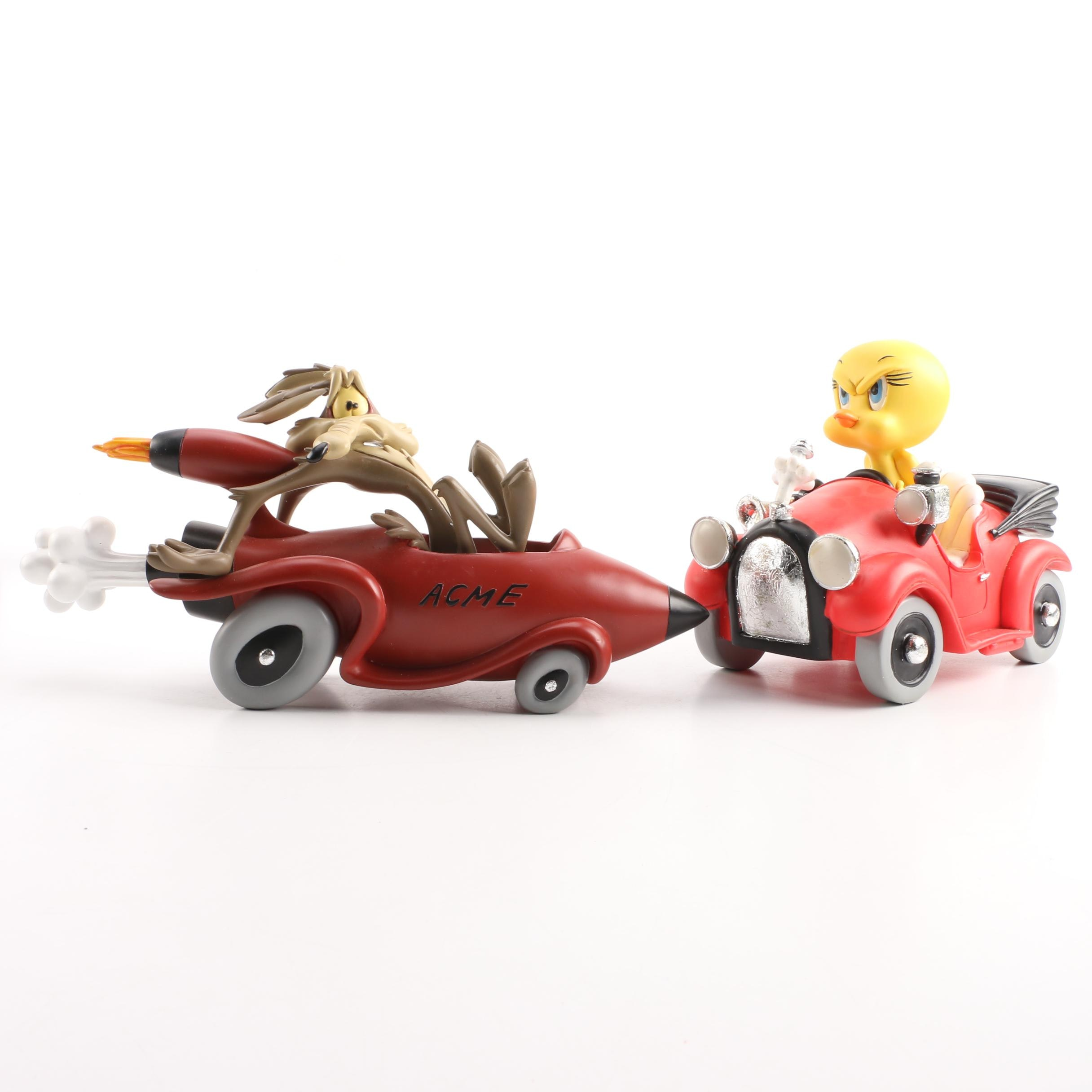 Resin Warner Brothers Figurines Featuring Tweety Bird and Wile E. Coyote