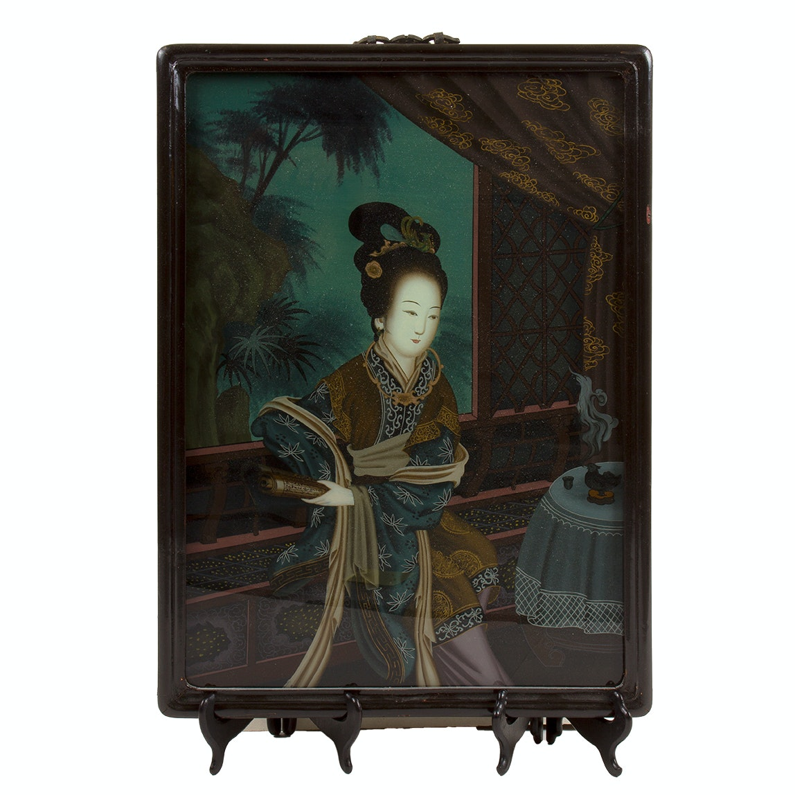 19th Century Eglomise Chinese Reverse Painting on Glass