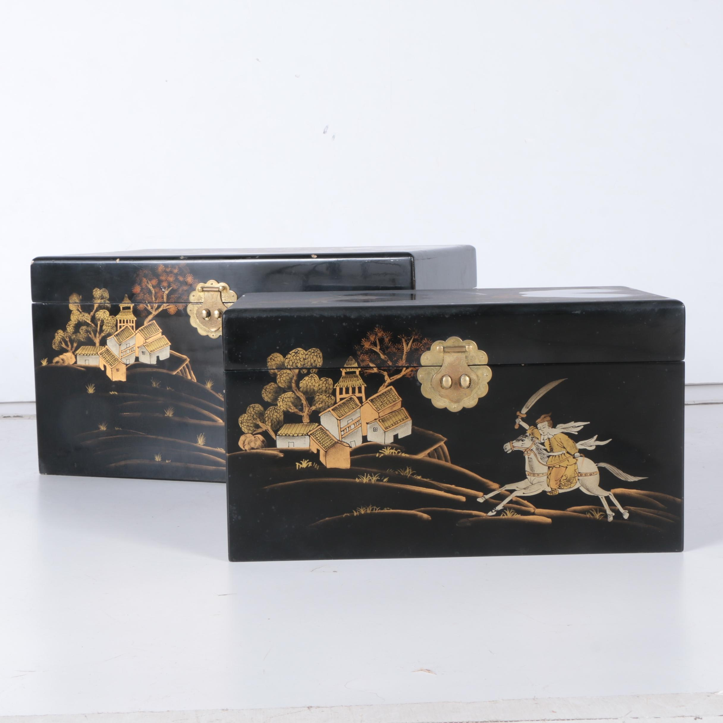 Chinoiserie Lacquered Storage Chests
