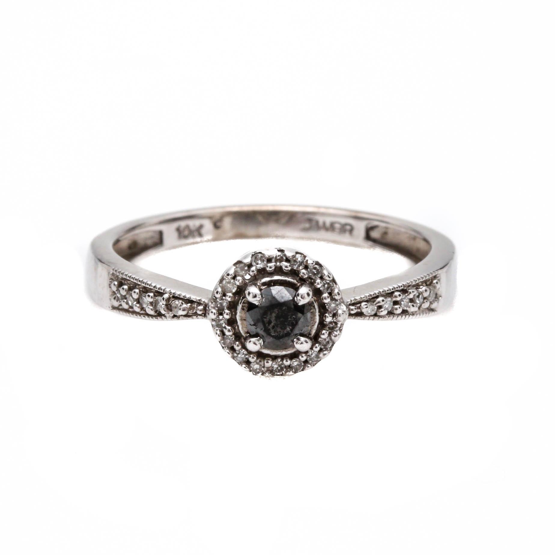 10K White Gold Irradiated Black Diamond and Diamond Ring