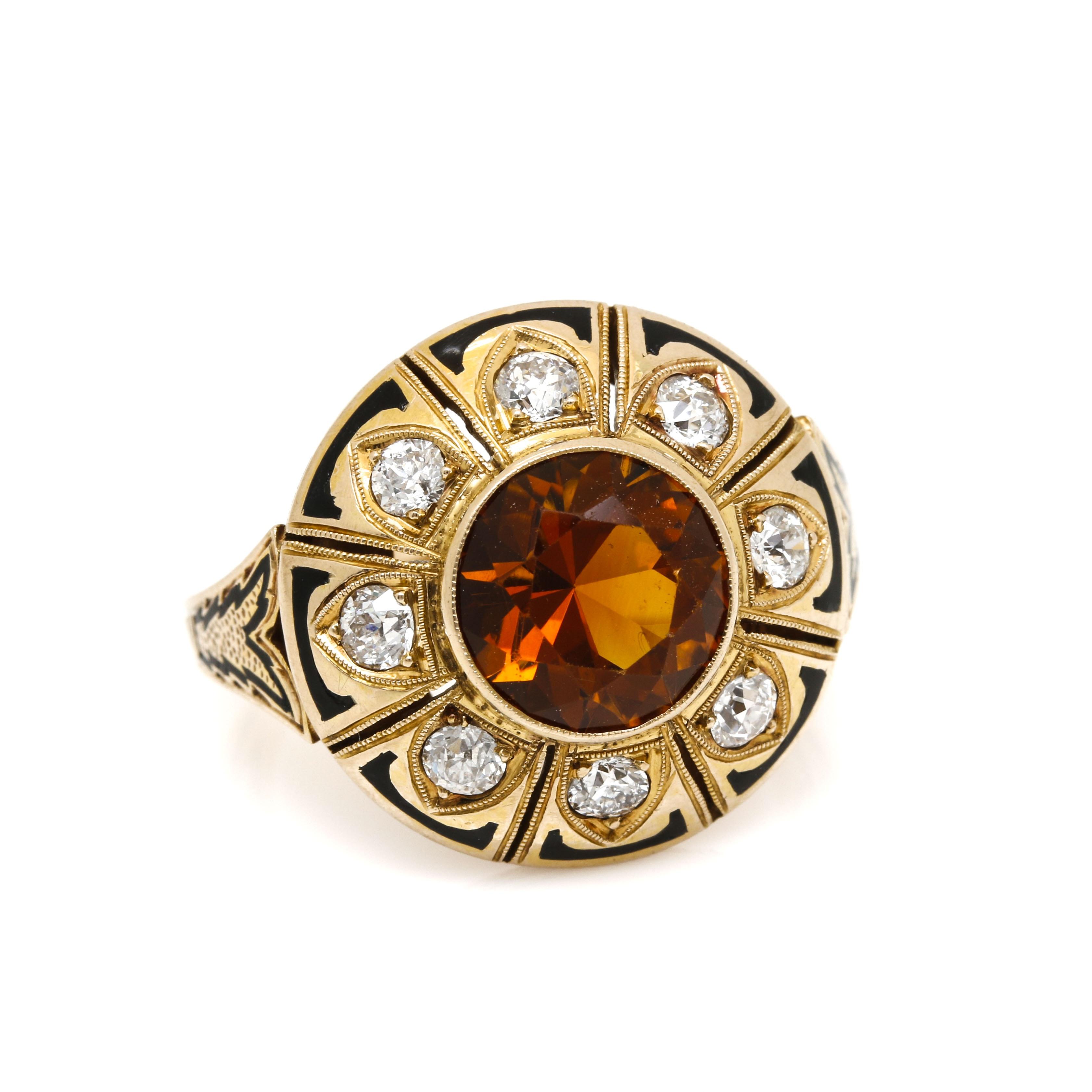 14K Yellow Gold Citrine, Diamond, and Enamel Ring