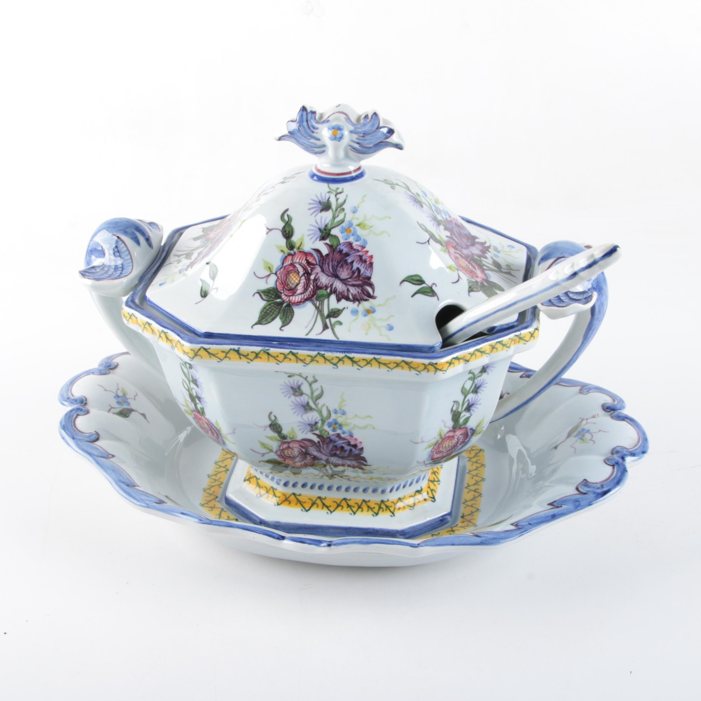Portuguese Ceramic Soup Tureen with Tray