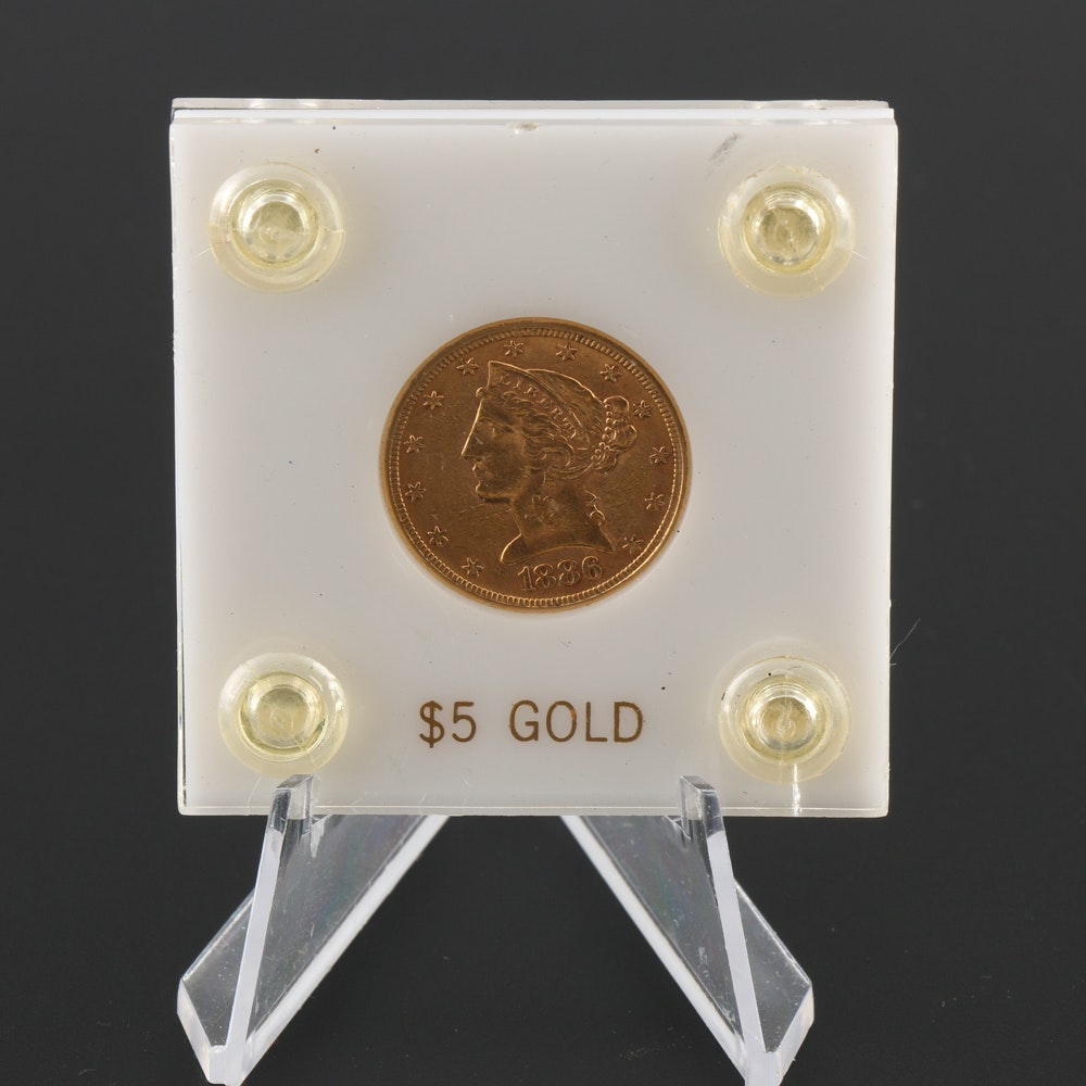 1886 Gold $5 Half Eagle