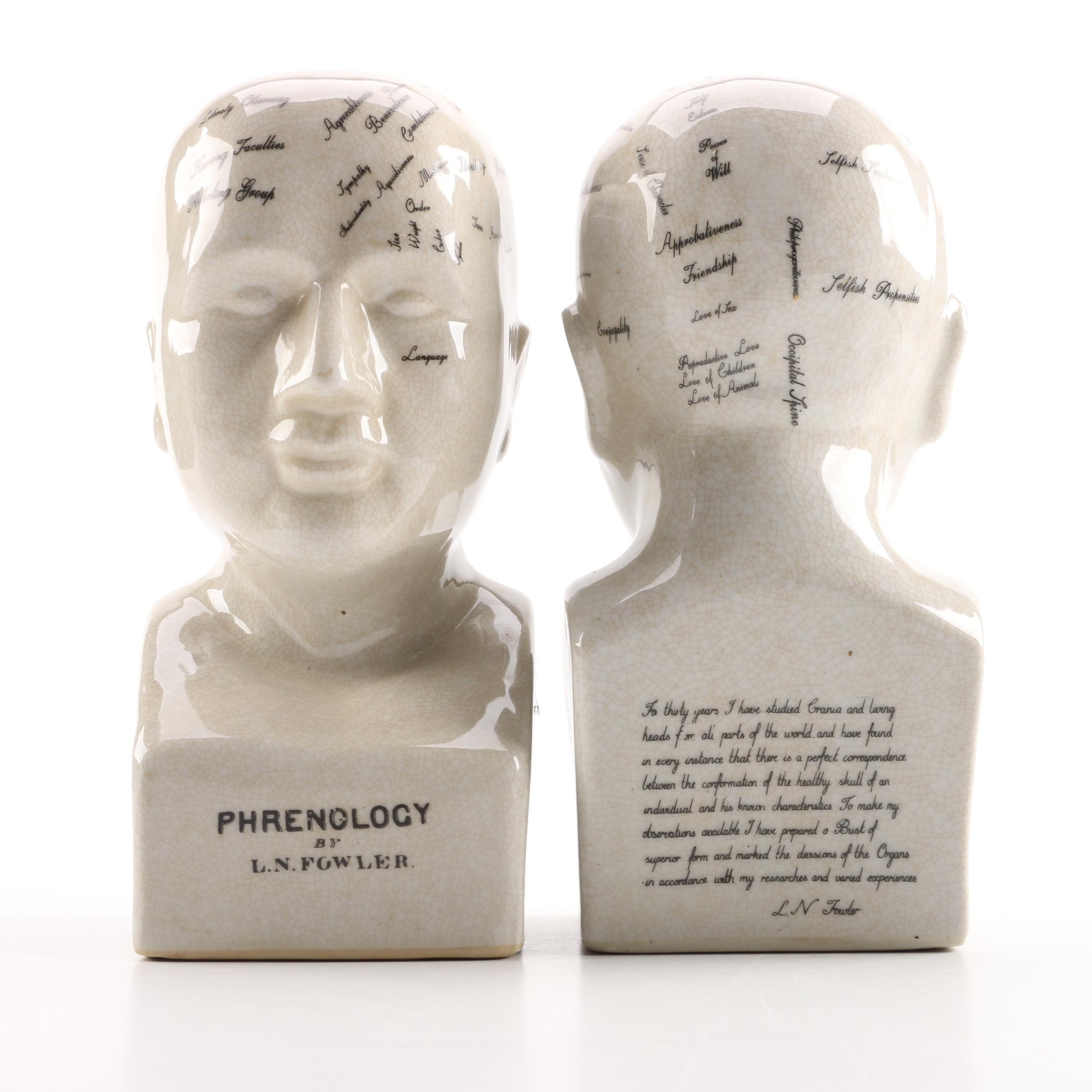 Pair of L.N. Fowler Style Ceramic Phrenology Busts
