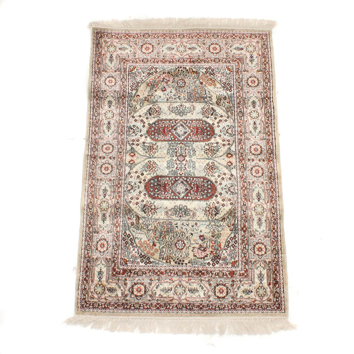 3' x 4' Hand-Knotted Pure Silk Sino-Persian Tabriz Rug