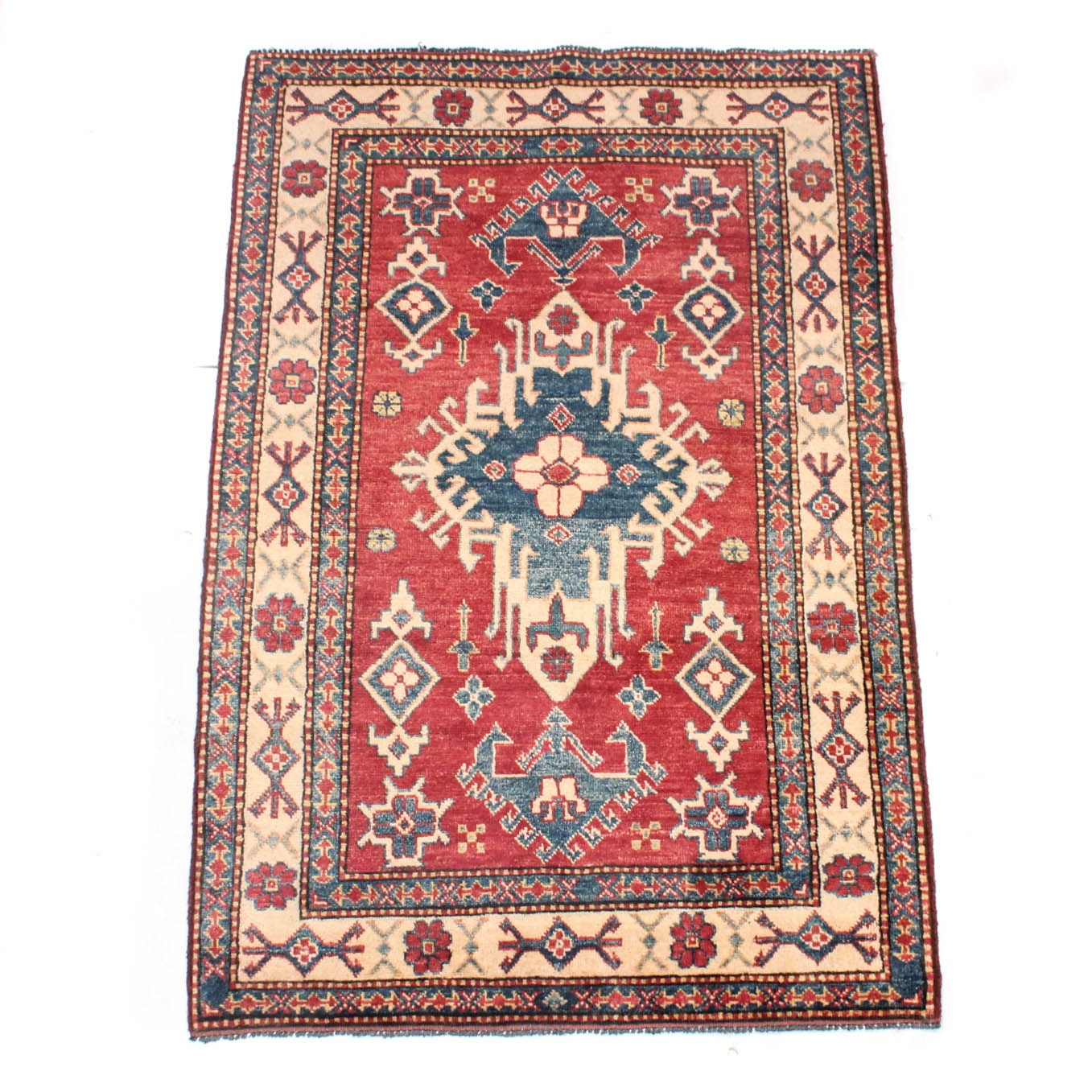 3' x 5' Fine Hand-Knotted Afghani Caucasian Kazak Rug