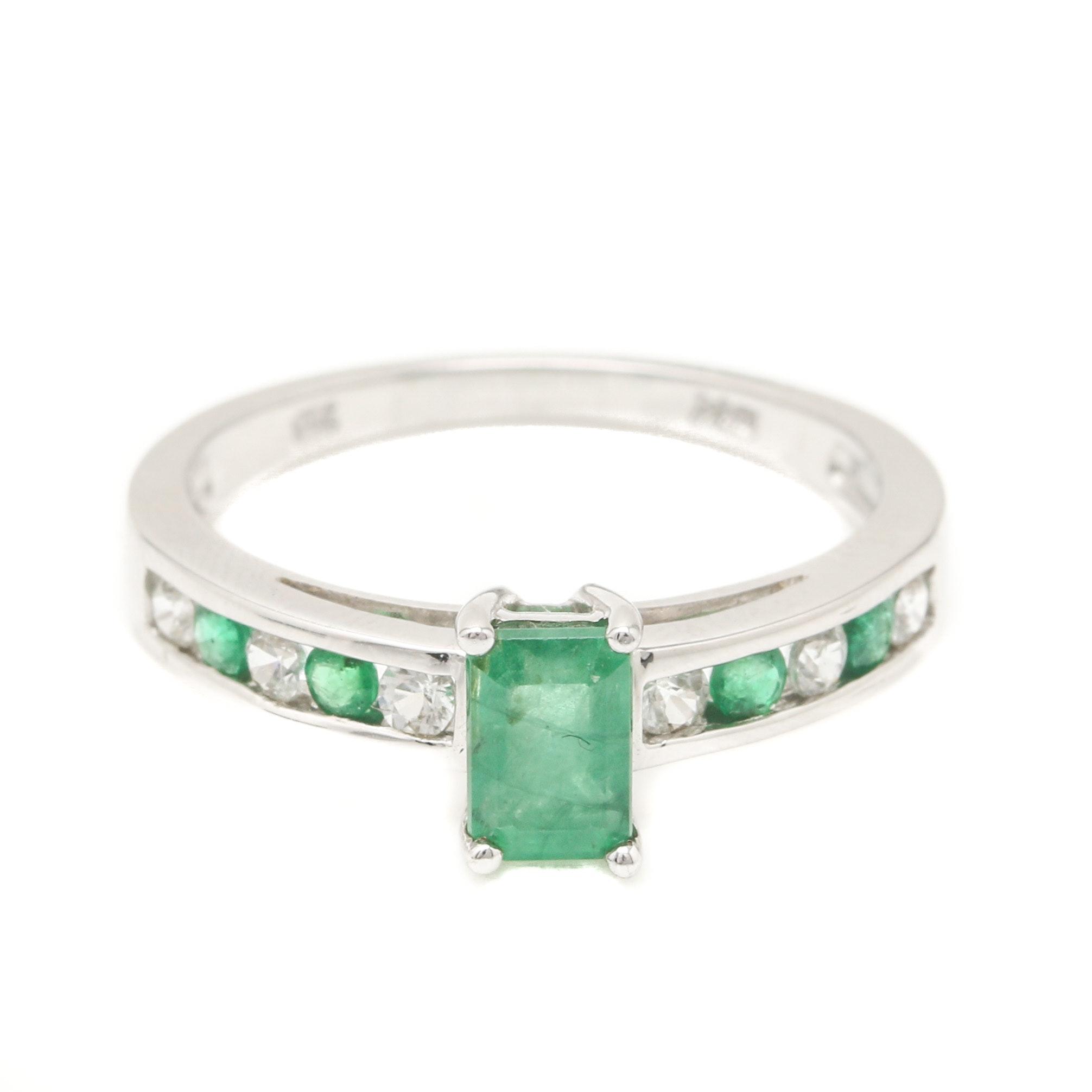 10K White Gold Emerald and White Topaz Ring