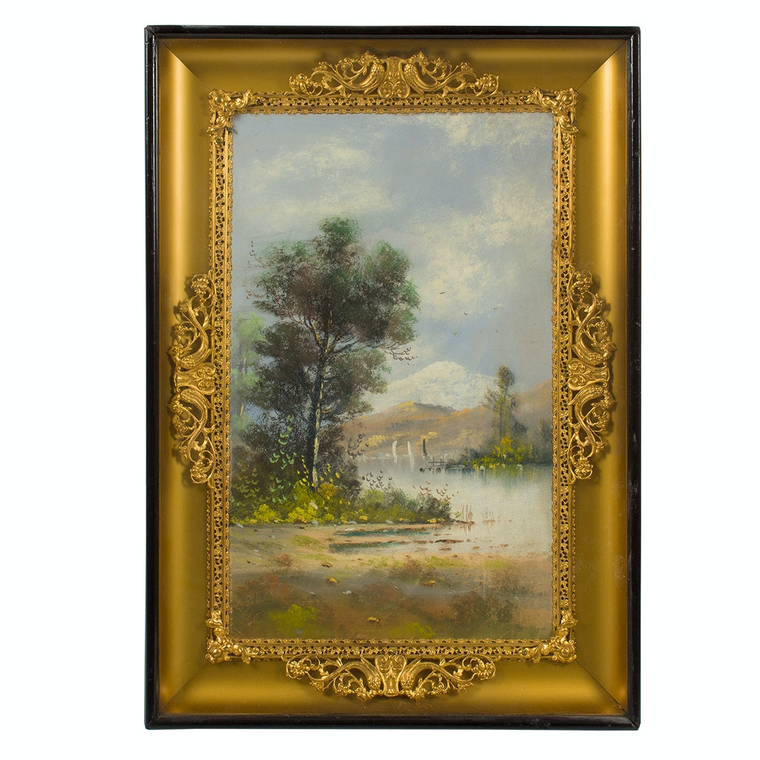 Pastel Landscape Drawing in Shadow Box Frame