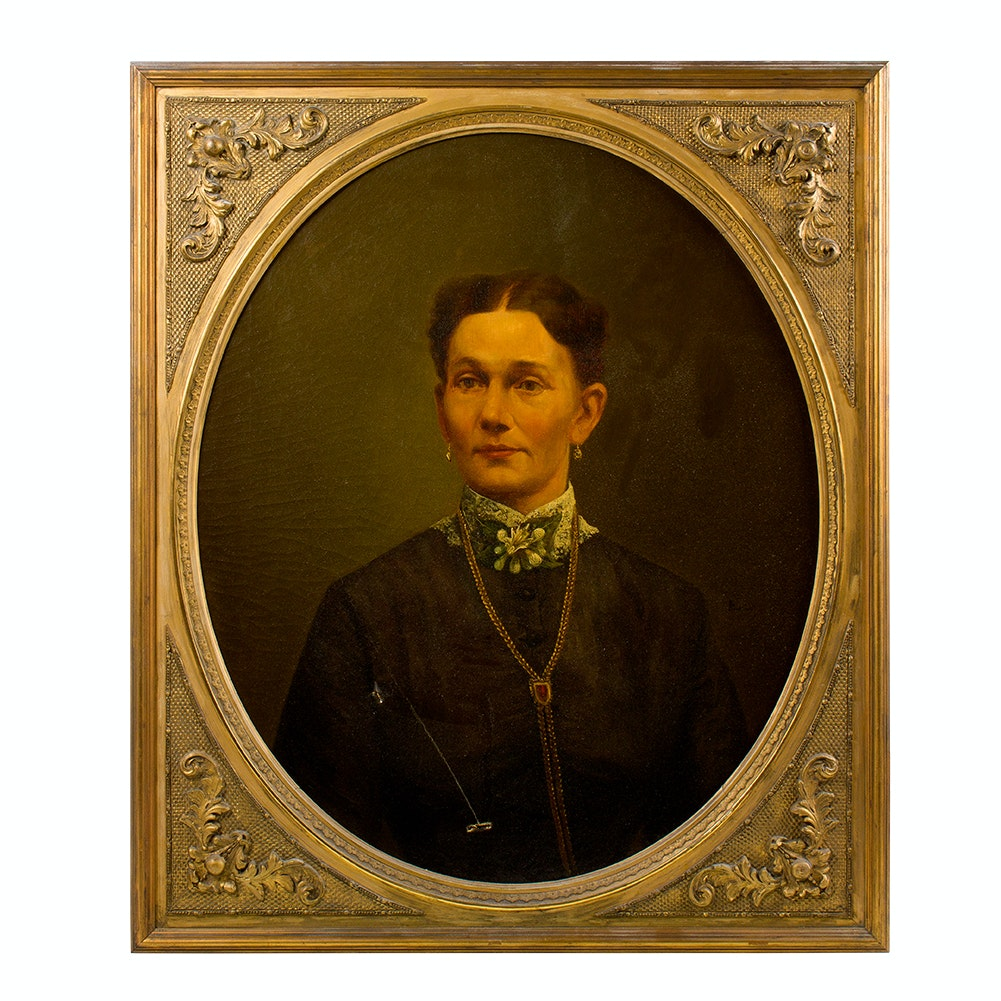Original Antique Oil on Canvas Portrait of Woman