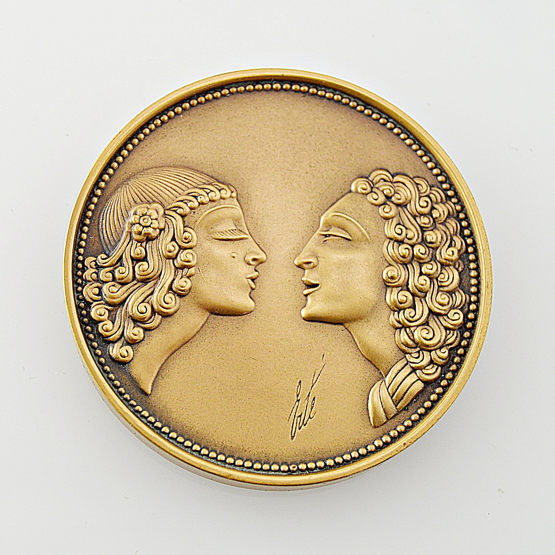 """Erté Limited Edition Bronze Medallion Titled """"The Kiss"""""""