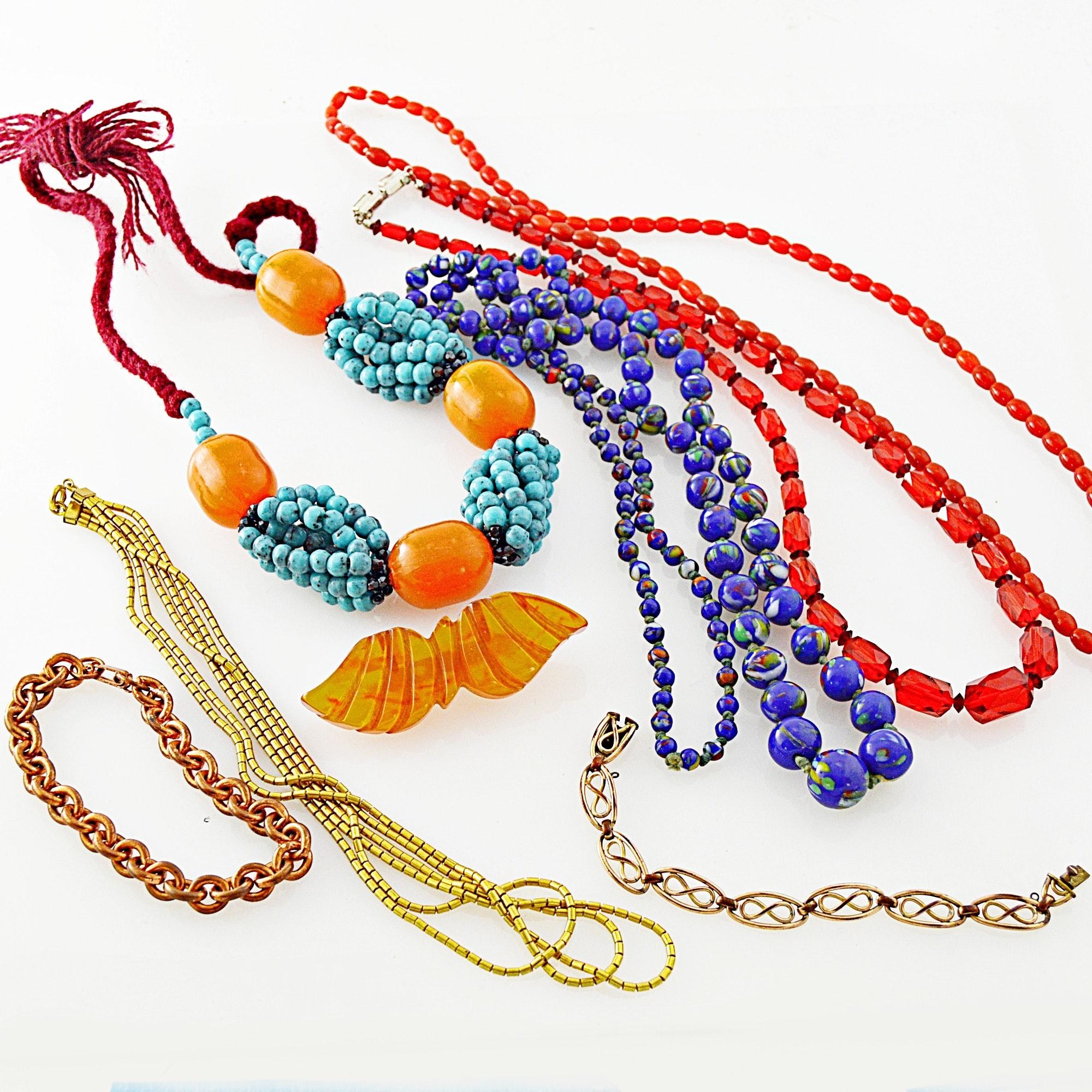 Vintage Beaded Necklaces, Art Deco Bakelite Brooch