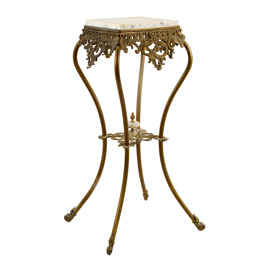 Marble Top Pierced Metal Accent Table