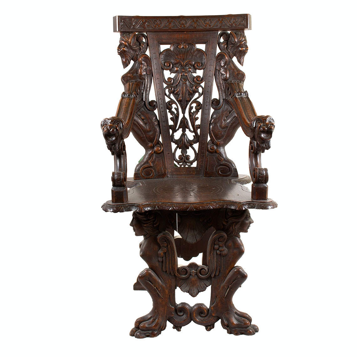 Antique Italian Renaissance Revival Carved Walnut Hall Chair