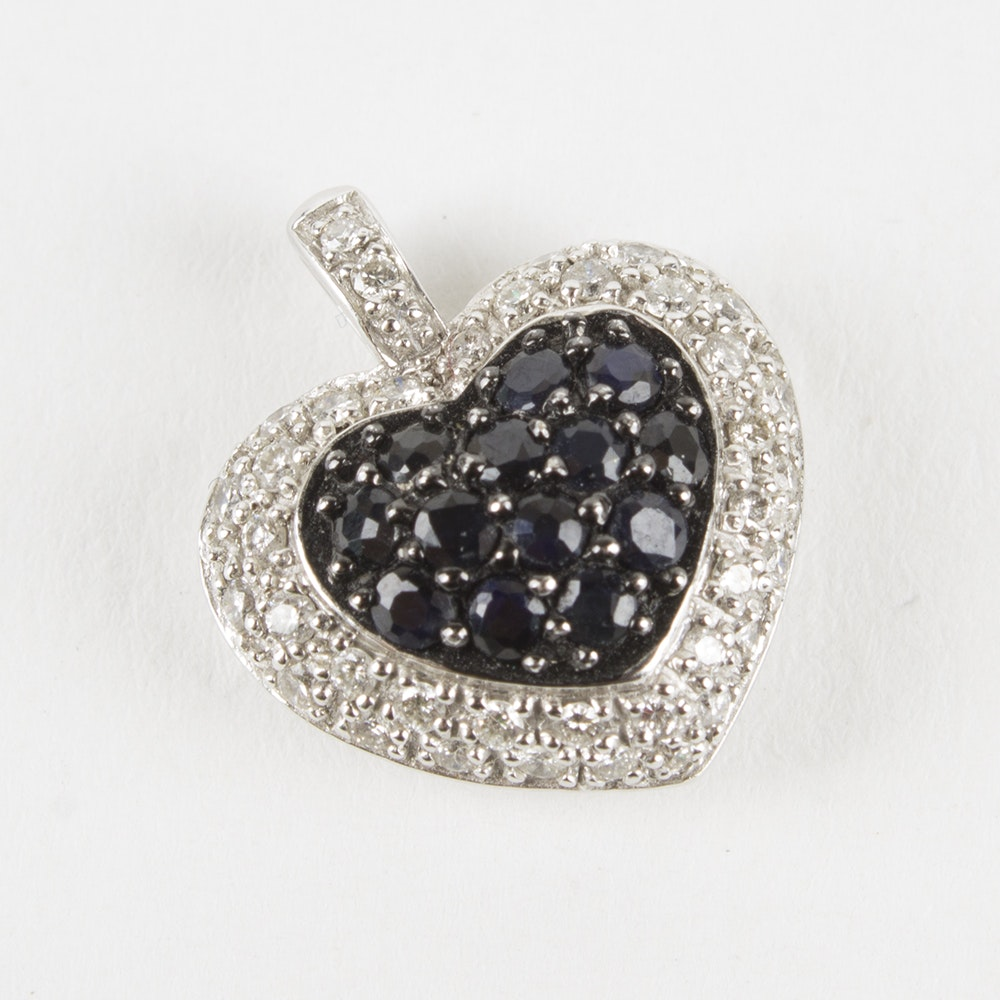 18K White Gold Sapphire and Diamond Heart Pendant