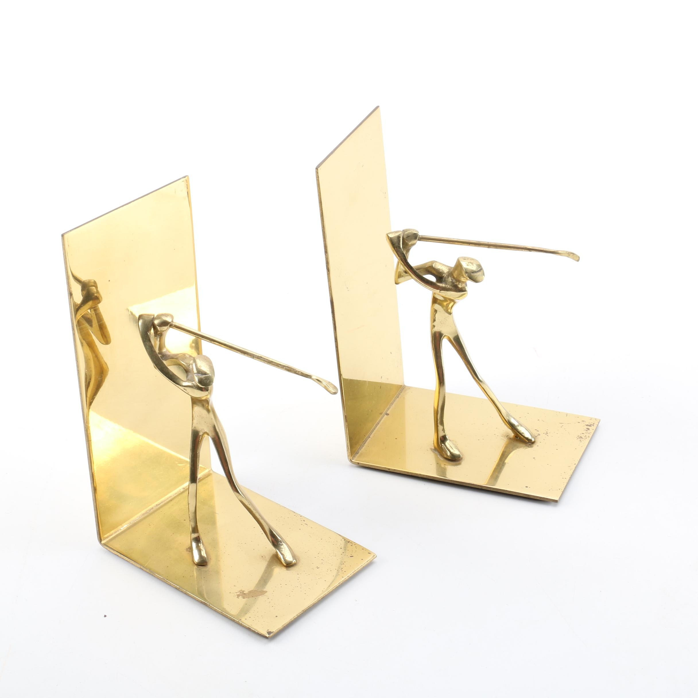Brass Golfer Bookends