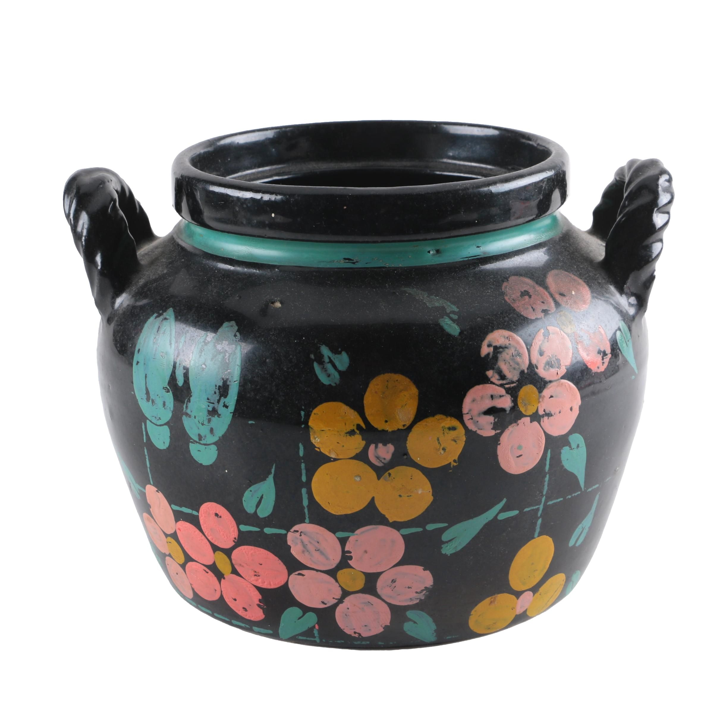 Hand Painted Ceramic Double Handled Crock