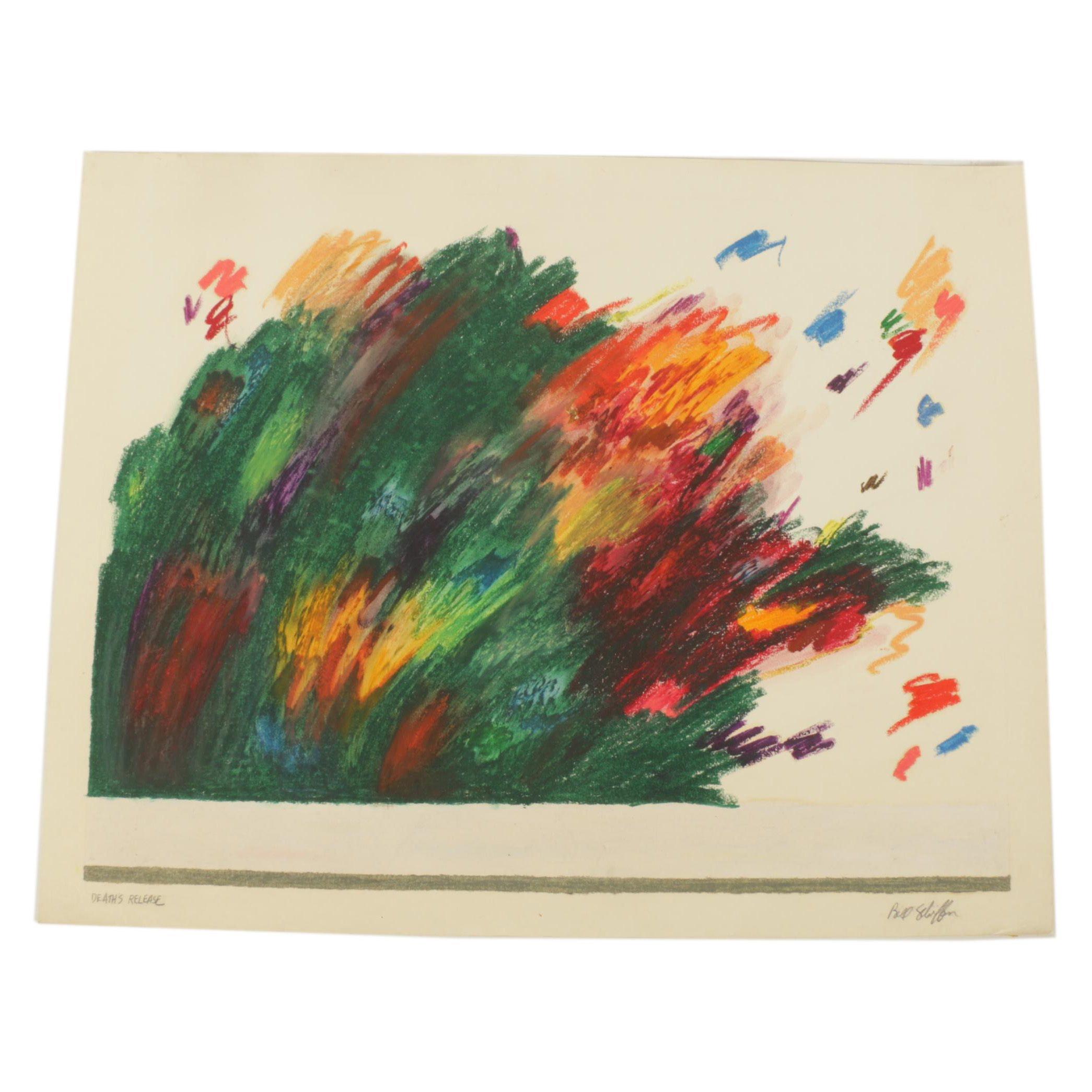 """Bill Schiffer Oil Pastel Drawing """"Death's Release"""""""