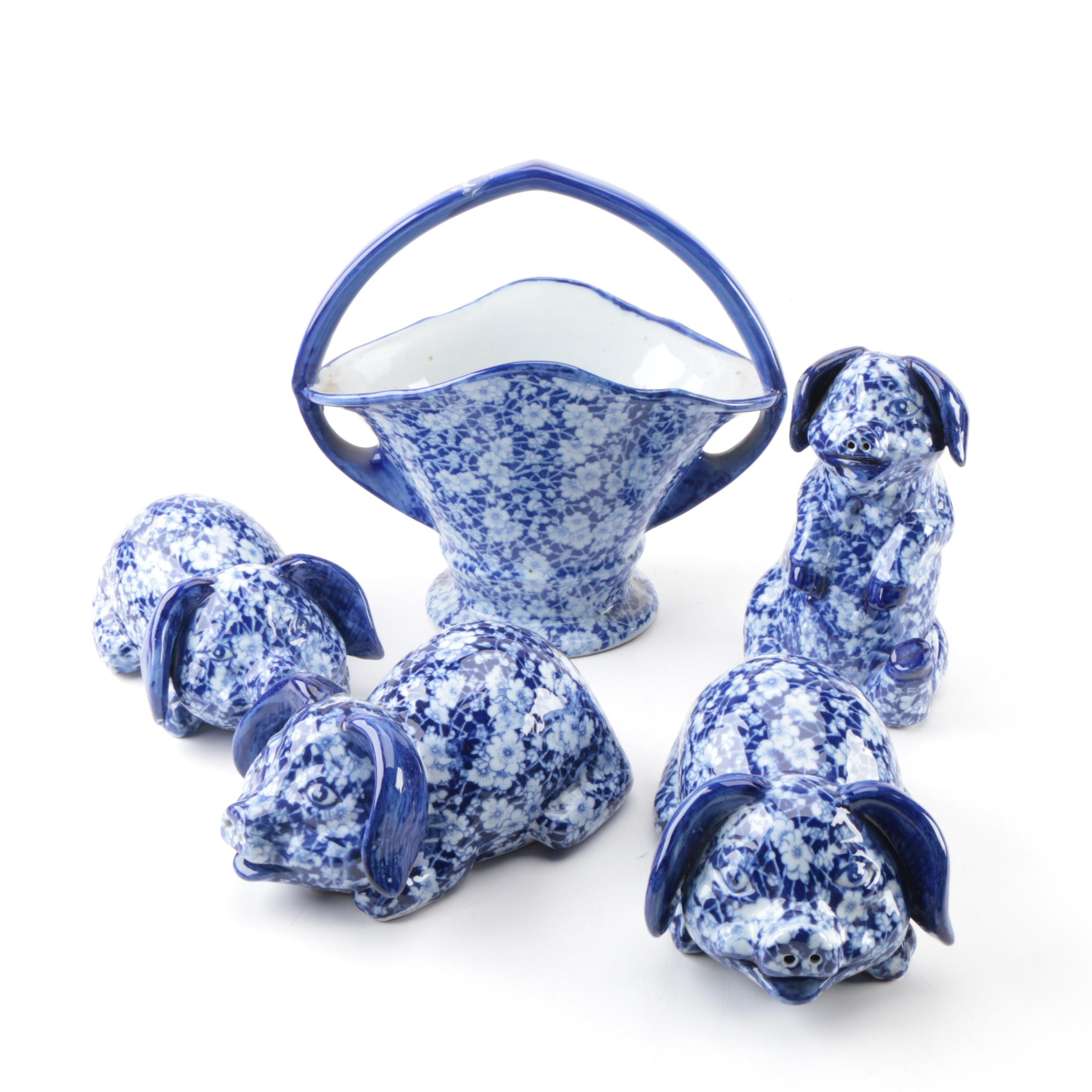 "Victoria Ironstone Flow Blue ""Calico"" Pigs and Basket"