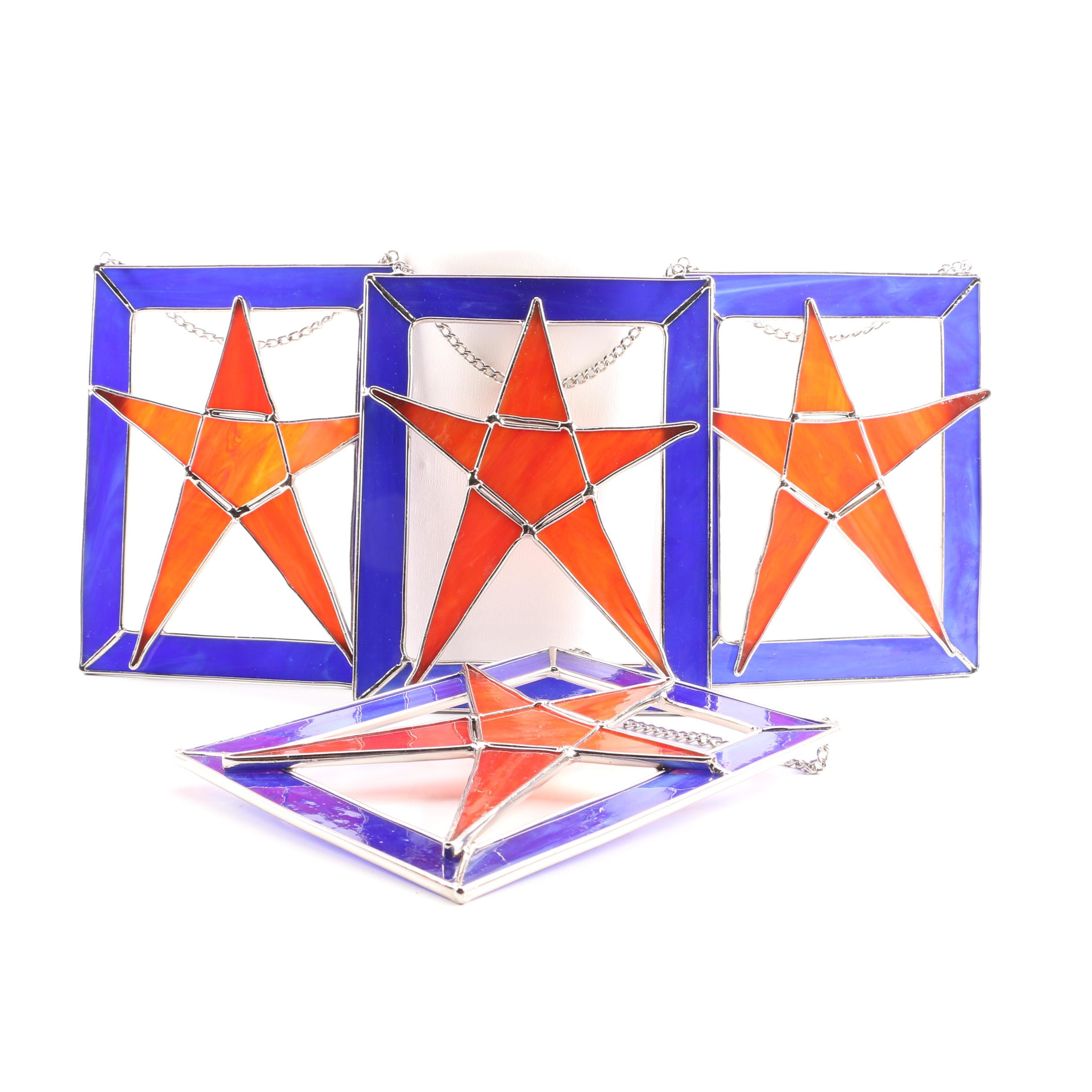Set of Stained Glass Panels with Star Motif