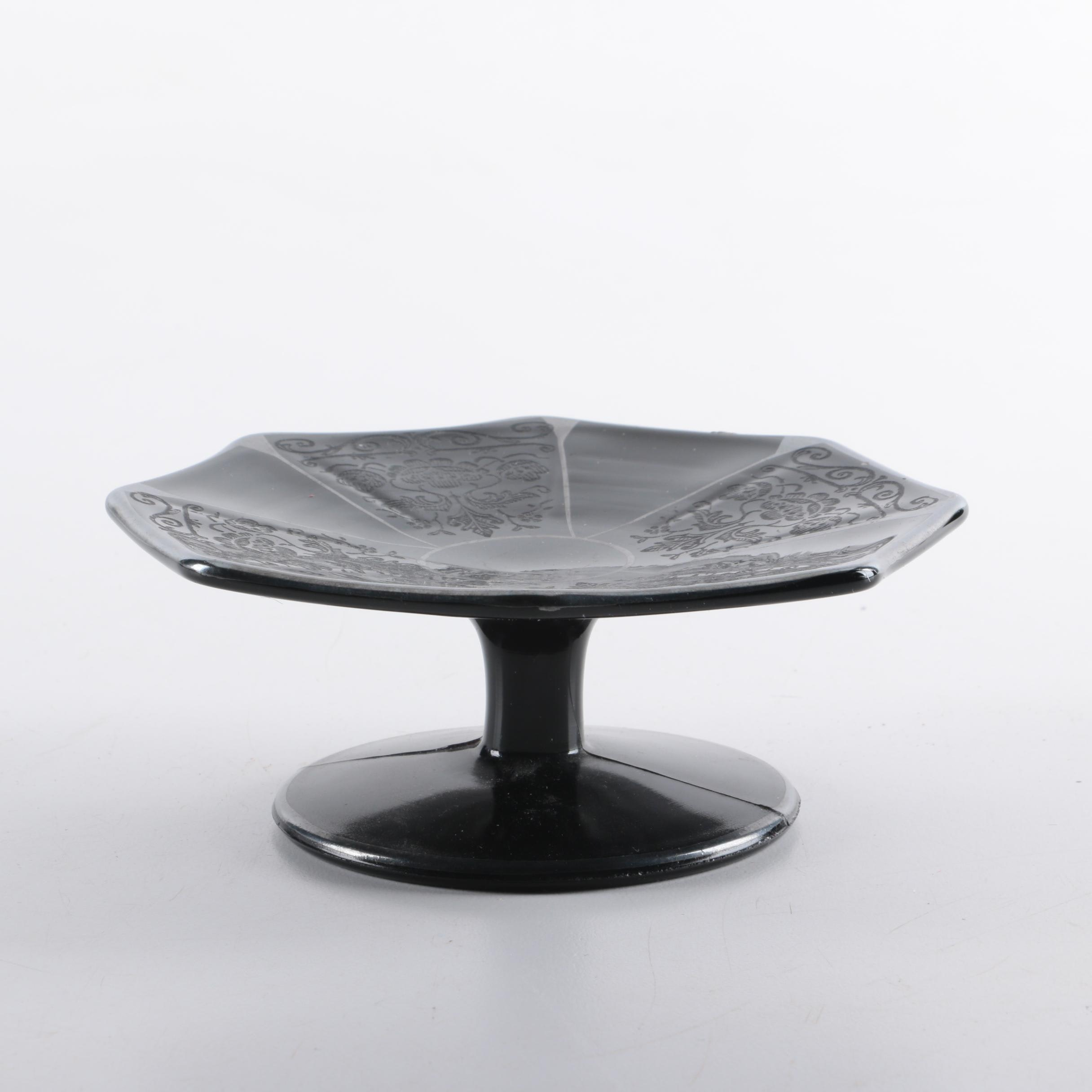 Black Amethyst Depression Glass Cake Plate ... & Black Amethyst Depression Glass Cake Plate : EBTH