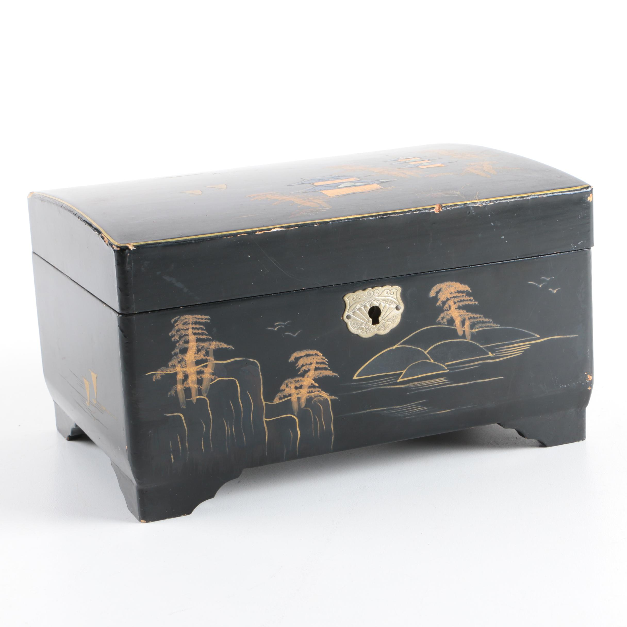 Vintage MM Japanese Black Lacquer Musical Jewelry Box EBTH