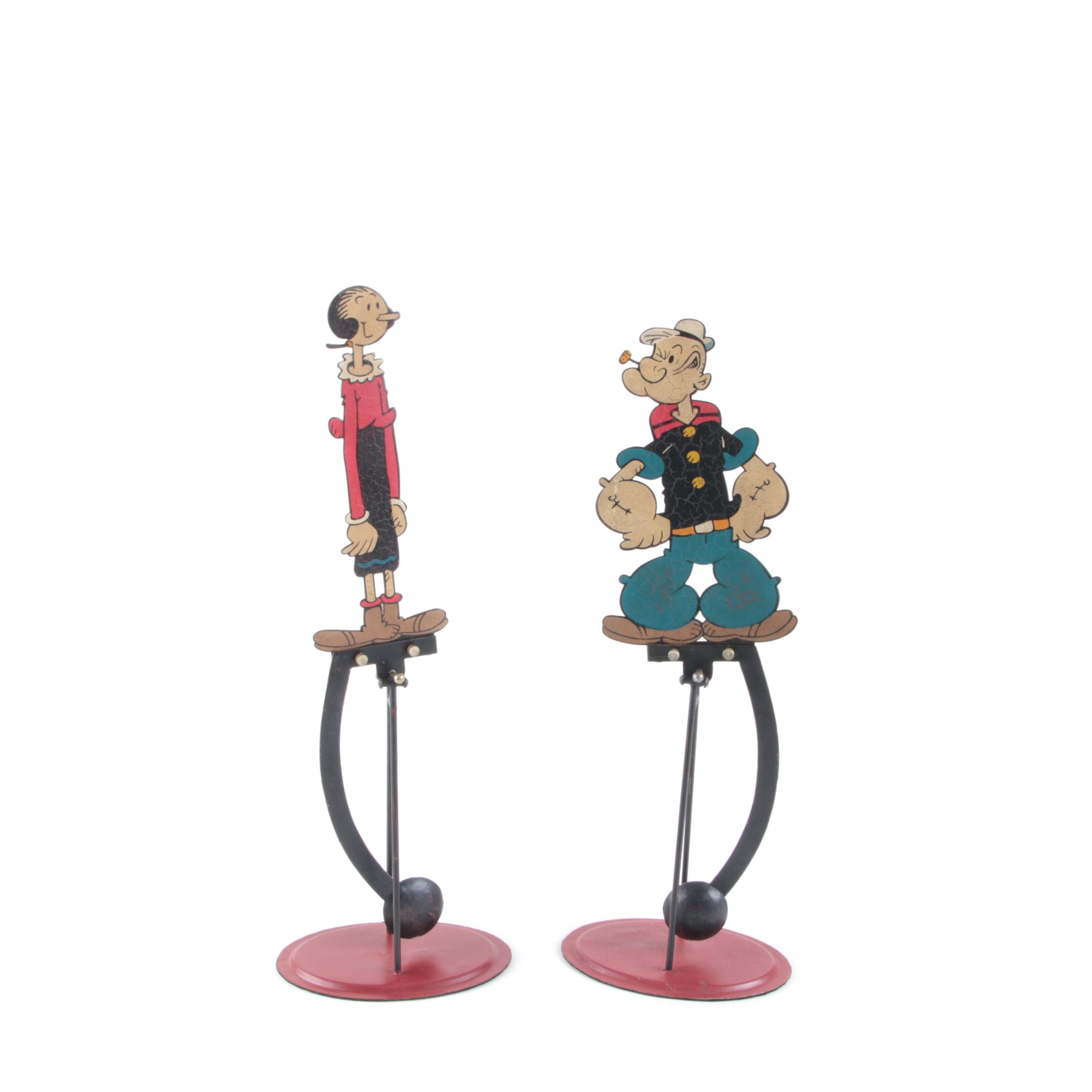 1999 Popeye and Olive Oyl Metal Motion Figurines from King Features