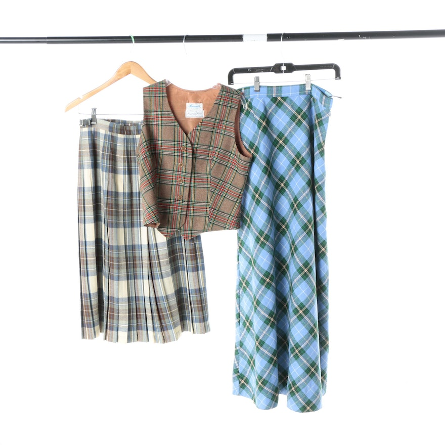 05e96656fe Women's Wool Plaid Skirts and Vest : EBTH