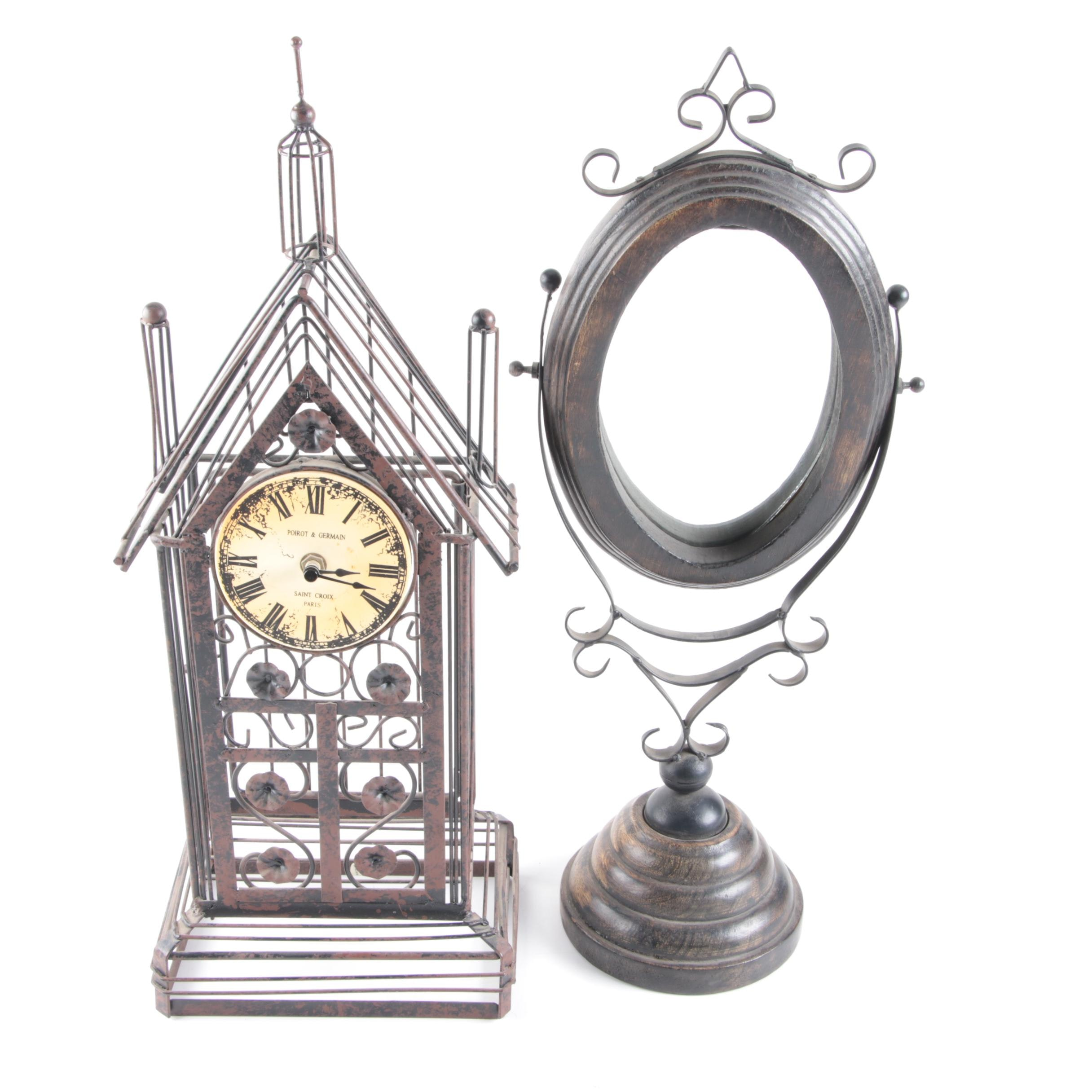Poirot & Germain Clock and Footed Mirror