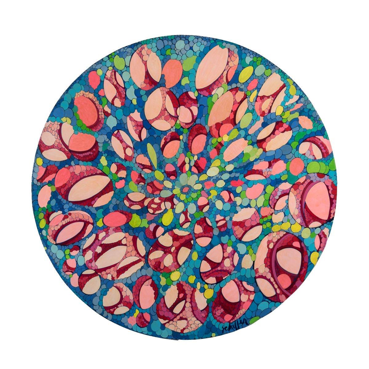 "Bill Schiffer Mixed Media Painting ""Mandala"""