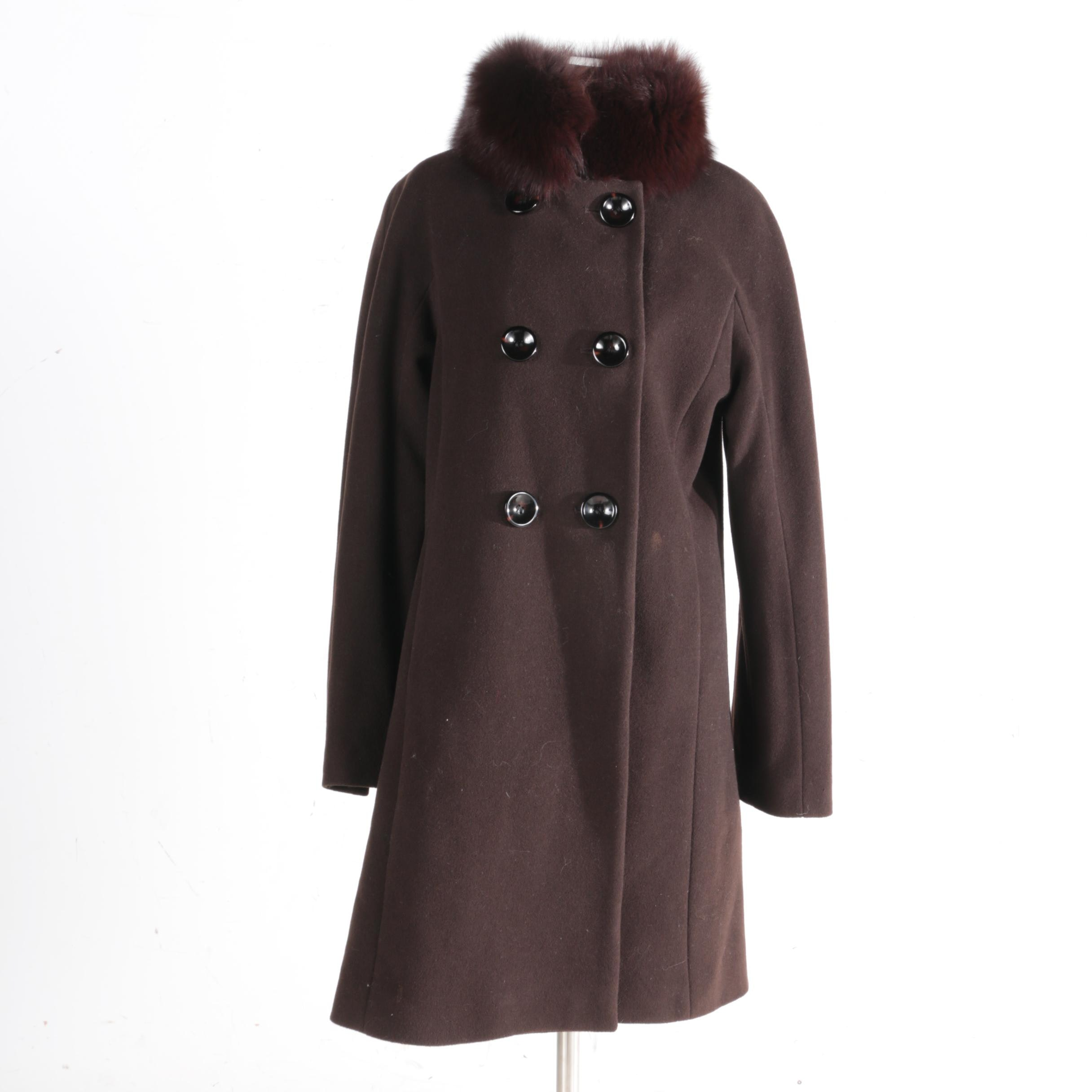 1 Madison Brown Wool and Dyed Fox Fur Coat