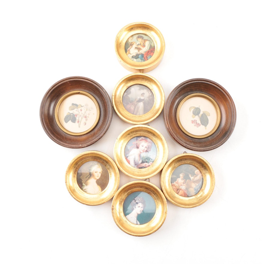 painted pictures in round wood frames ebth
