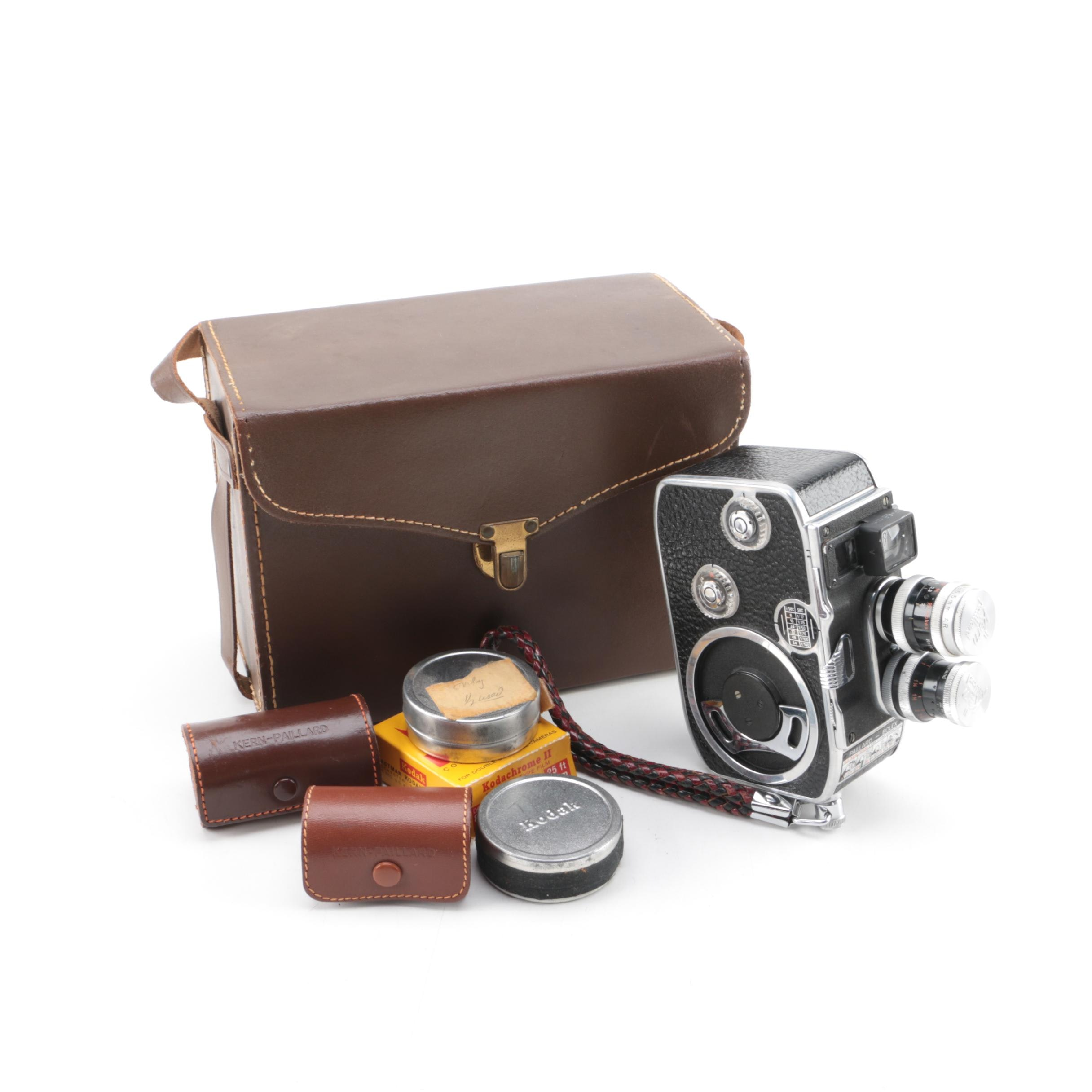 Vintage Paillard-Bolex B8 Movie Camera with Bag and Accessories
