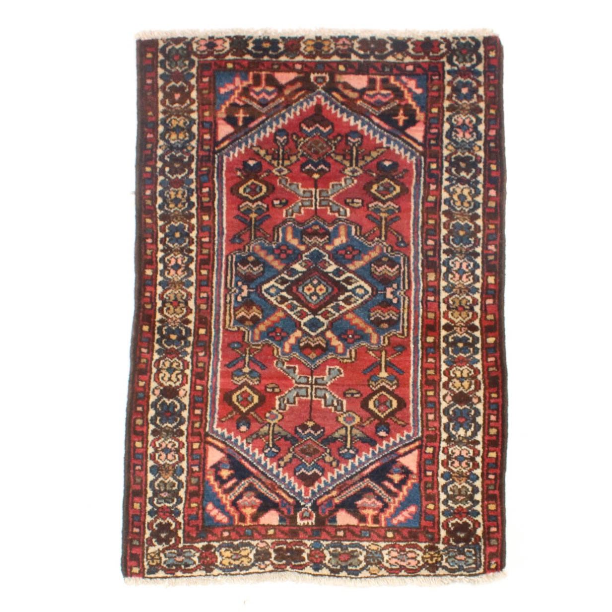 2' x 3' Semi-Antique Hand-Knotted Persian Karaja Rug
