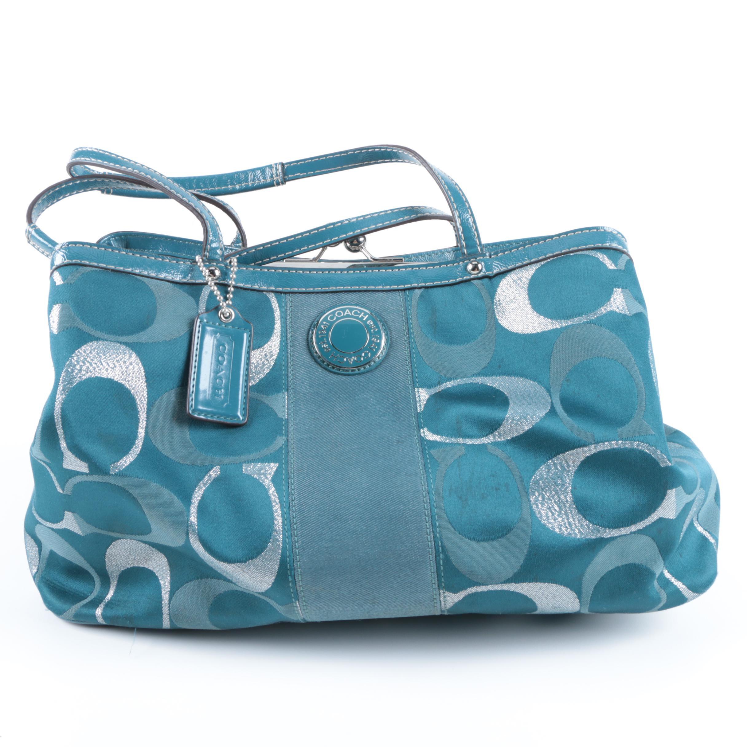 Coach Signature Stripe Teal Canvas Handbag