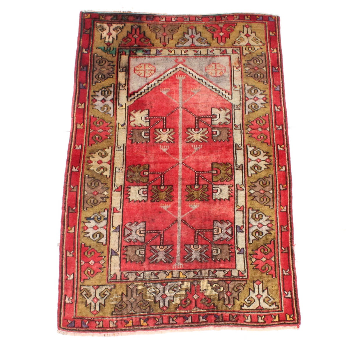 3' x 5' Antique Hand-Knotted Turkish Oushak Prayer Rug