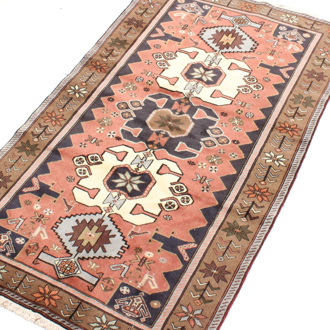4' x 7' Semi-Antique Hand-Knotted Persian Malayer Pictorial Rug
