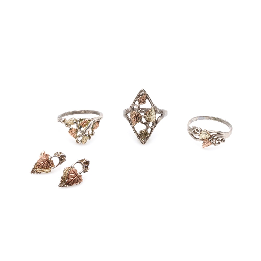 Sterling Silver Rings and Earrings 12K Gold Accents